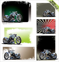 Retro motorcycle background - set vector