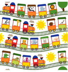 seamless pattern train with animals vector image
