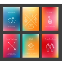 Set of blurred wedding cards vector