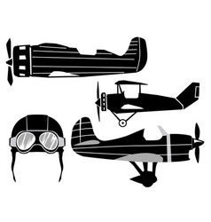 set of classical airplanes vector image
