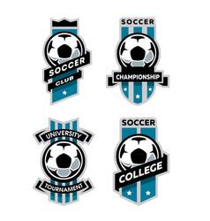 set of soccer football logo emblem vector image vector image