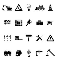 silhouette black construction icon set vector image vector image