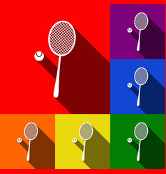 Tennis racquet sign set of icons with vector