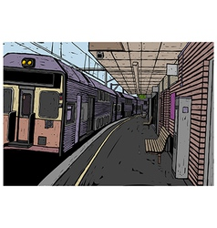 Train station background vector