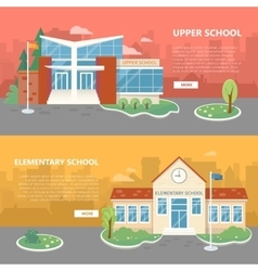 Upper and elementary school banners vector