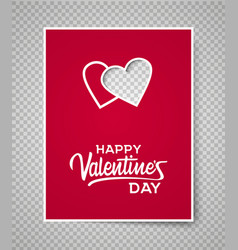 Valentine s day card template on transparent vector