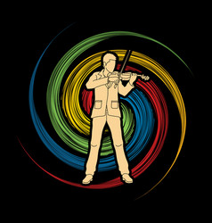 violinist player a man play violin classic music vector image vector image