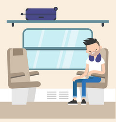 Young passenger sitting in the train compartment vector