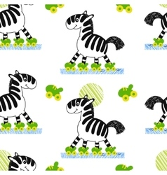 Zebra roller skating seamless pattern vector