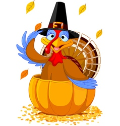 Thanksgiving turkey in the pumpkin vector