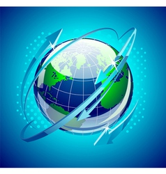 Globe with arrows around it vector