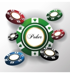 Chips for poker and casino game design vector