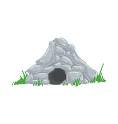 Primitive stone age cave troglodyte house man made vector