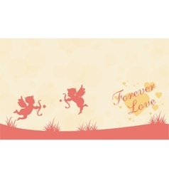 On hill with cupid valentine landscape vector