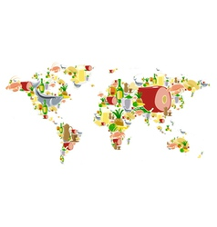 World map with food and drinks vector