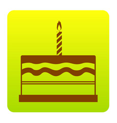 Birthday cake sign  brown icon at green vector