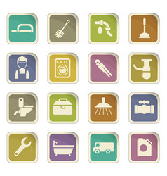 Plumbing service icon set vector