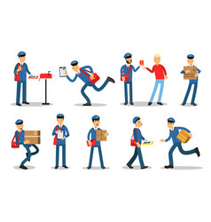 Postman characters in different situations set vector