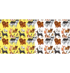 Seamless background with cute dogs vector