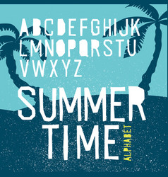 Summer time alphabet hand drawn letters summer vector