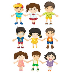Kids holding their hands vector image
