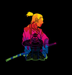 2 samurai composition cartoon designed using color vector