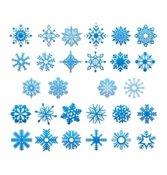 Cool blue snowflakes set vector