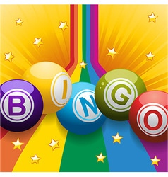Bingo balls on rainbow and stars vector