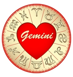 Zodiac sign gemini for lovers on valentine vector