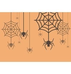 Halloween background spider with cobweb vector