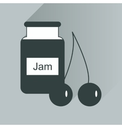 Flat icon with long shadow bank of cherry jam vector