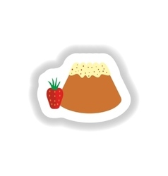 Stylish paper sticker sweet bun with strawberries vector