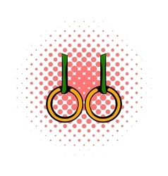 Gymnastic rings icon comics style vector