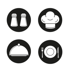 Restaurant kitchen equipment black icons set vector