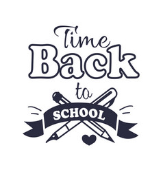 Back to school time sticker with text on white vector