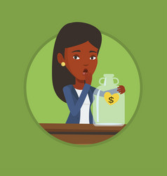 Bankrupt woman looking at empty money box vector
