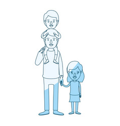 Blue silhouette shading caricature dad with boy on vector