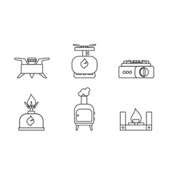 Camping stove set lineare icon furnace travel vector