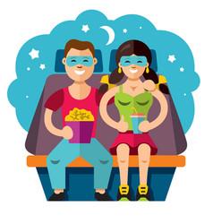 cinema couple flat style colorful cartoon vector image
