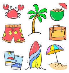 Collection object holiday summer doodles vector