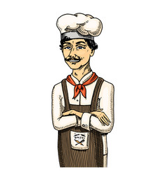 Culinary boss or chef baker in apron engraved vector