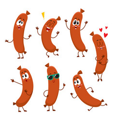 Cute funny sausage characters with human face vector
