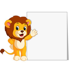 Cute lion with blank sign vector