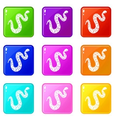 Dotted snake icons 9 set vector