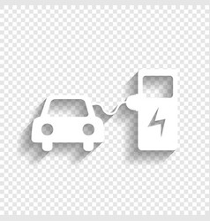 Electric car battery charging sign white vector