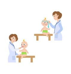 Flat female doctor infant baby scene set vector