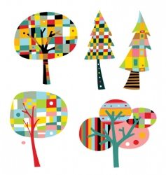 geometric trees vector image