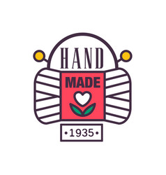 Handmade logo template since 1935 retro vector