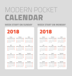 modern pocket calendar set 2018 vector image