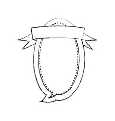 Monochrome blurred contour of oval balloon dialog vector